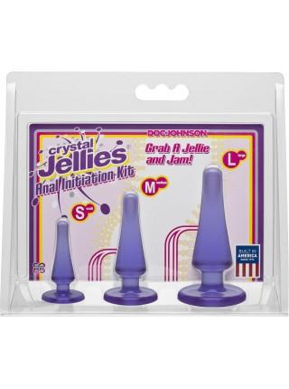 Набор анальных пробок Doc Johnson Crystal Jellies Anal - Purple, макс. диаметр 2см - 3см - 4см