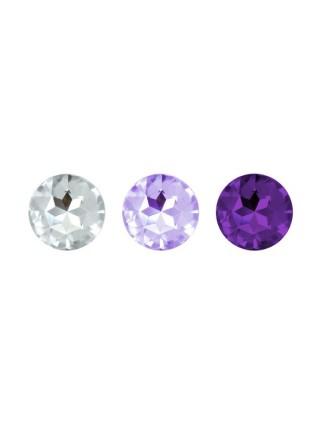 Набор анальных пробок с кристаллом Rianne S: Booty Plug Set Purple, диаметр 2,7см, 3,5см, 4,1см
