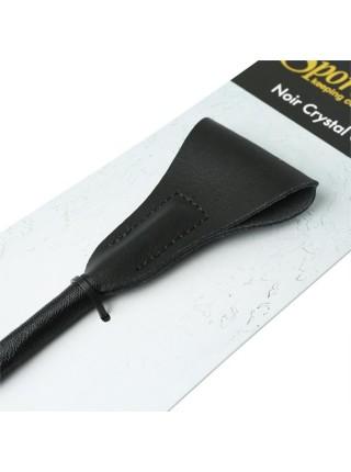 Шлепалка Sportsheets Crystal Crop Noir, ручка инкрустирована черными кристаллами