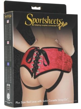Трусы для страпона Sportsheets - SizePlus Red Lace Satin Corsette, с корсетной утяжкой, ульракомфорт