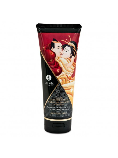 Съедобный массажный крем Shunga KISSABLE MASSAGE CREAM - Sparkling Strawberry Wine (200 мл) SO2506