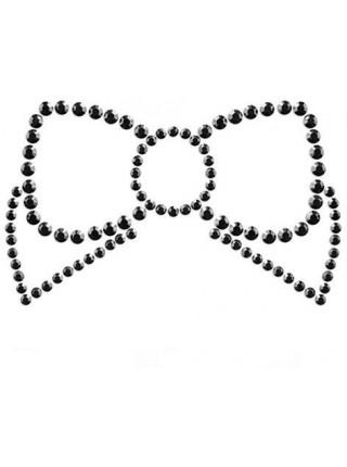 Украшение для груди MIMI со стразами - Бантик - Чёрный