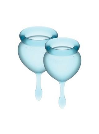 Набор менструальных чаш Satisfyer Feel Good (light blue), 15мл и 20мл, мешочек для хранения SO3584 Dorcel