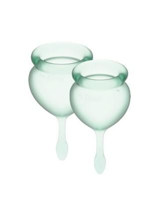 Набор менструальных чаш Satisfyer Feel Good (light green), 15мл и 20мл, мешочек для хранения SO3585 Dorcel