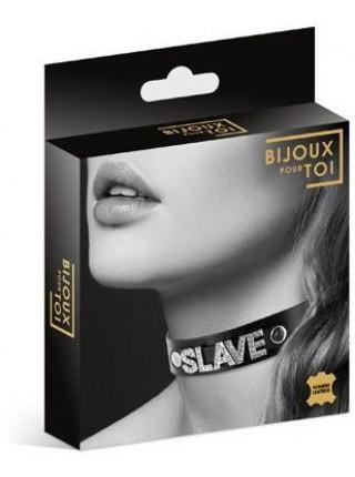 Чокер со стразами Bijoux Pour Toi - SLAVE, натуральная кожа