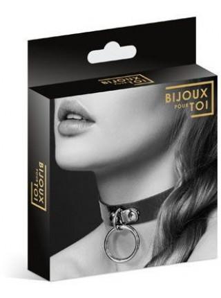 Чокер с кольцом для поводка Bijoux Pour Toi - FETISH Black, экокожа