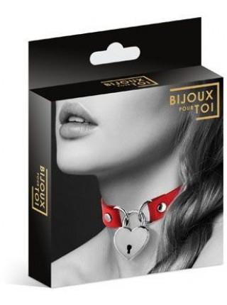 Чокер с замочком-сердечком Bijoux Pour Toi - HEART LOCK Red, экокожа