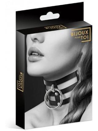 Чокер тройной с кольцом для поводка Bijoux Pour Toi - FETISH, экокожа